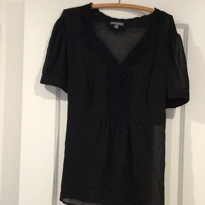 Women's Top, 2X, Black, Sheer, Tie back